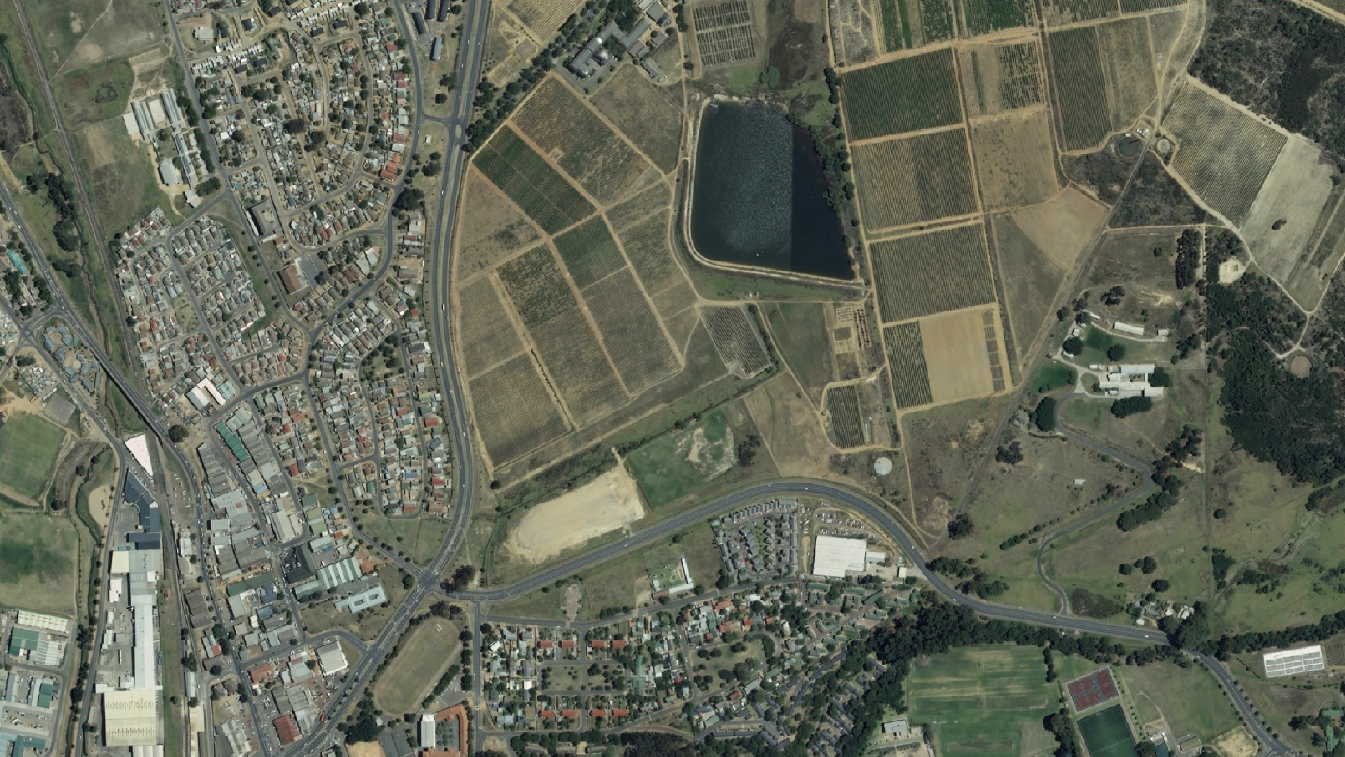Orthorectified, 50 cm resolution RGB aerial image of example area.