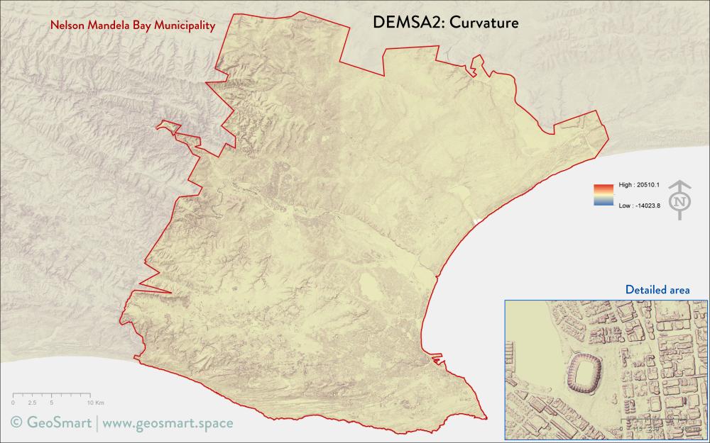 Curvature of Nelson Mandela Bay and Port Elizabeth