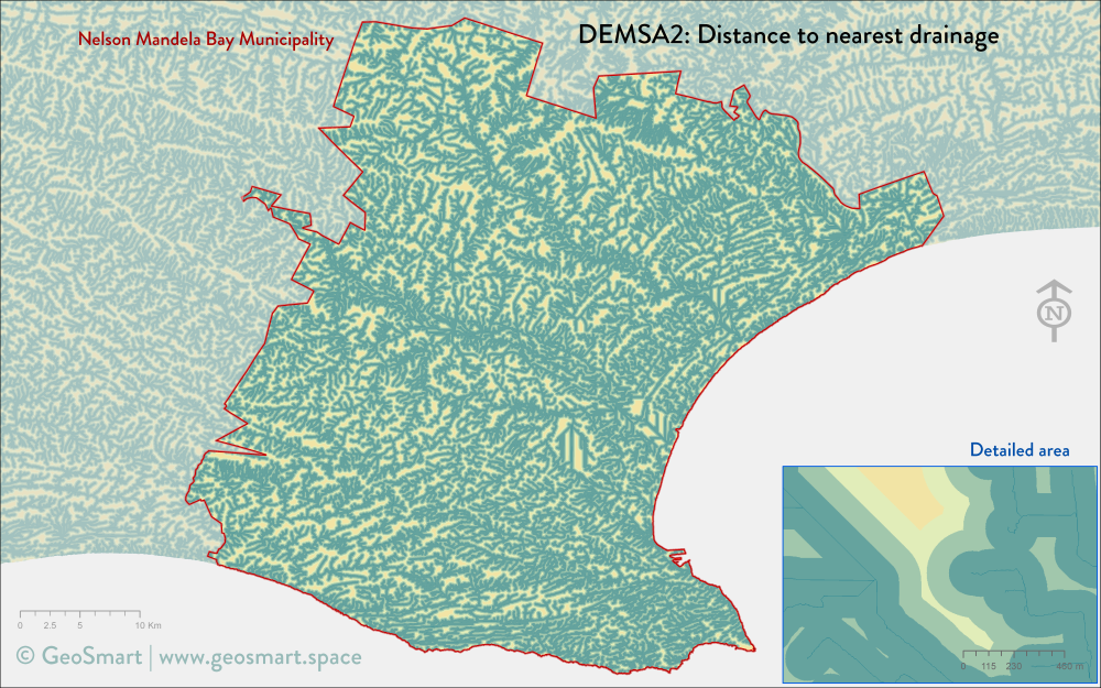 Distance to nearest drainage of Nelson Mandela Bay and Port Elizabeth