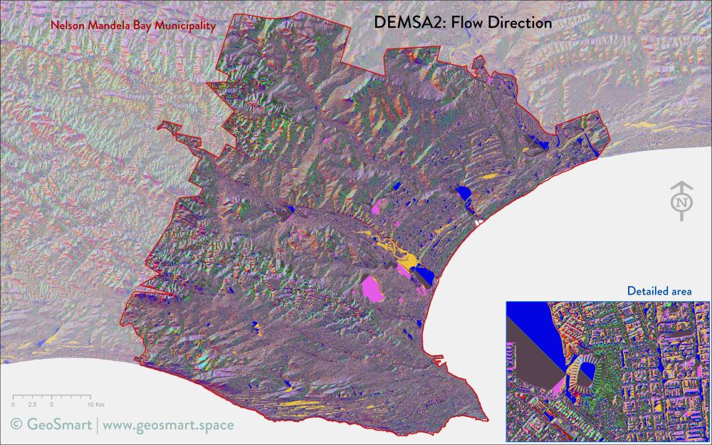 Flow direction of Nelson Mandela Bay and Port Elizabeth