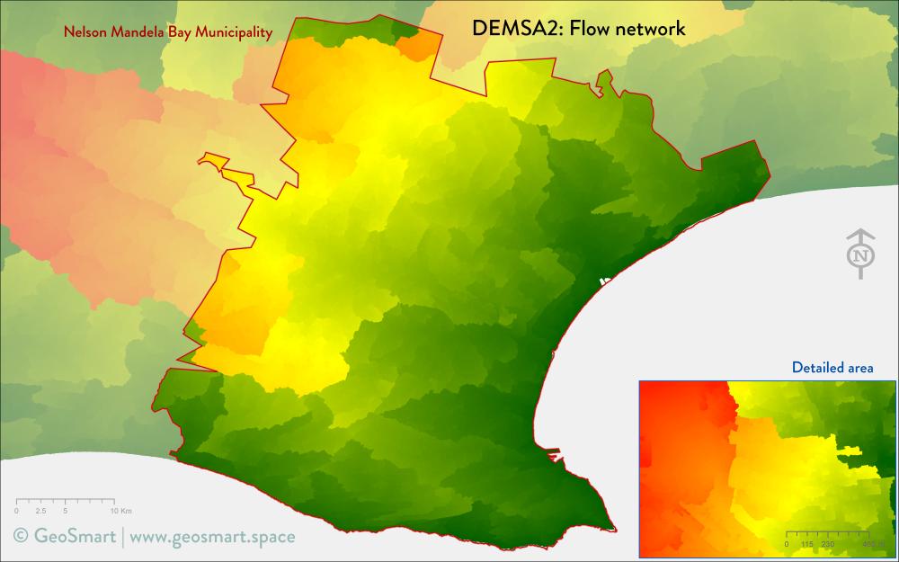 Flow network of Nelson Mandela Bay and Port Elizabeth
