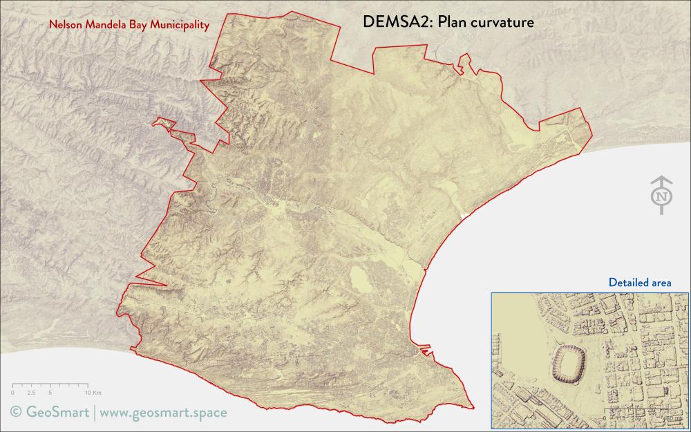 Plan curvature of Nelson Mandela Bay and Port Elizabeth