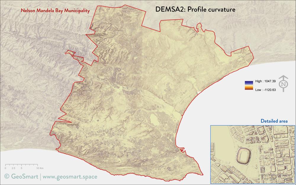 Profile curvature of Nelson Mandela Bay and Port Elizabeth