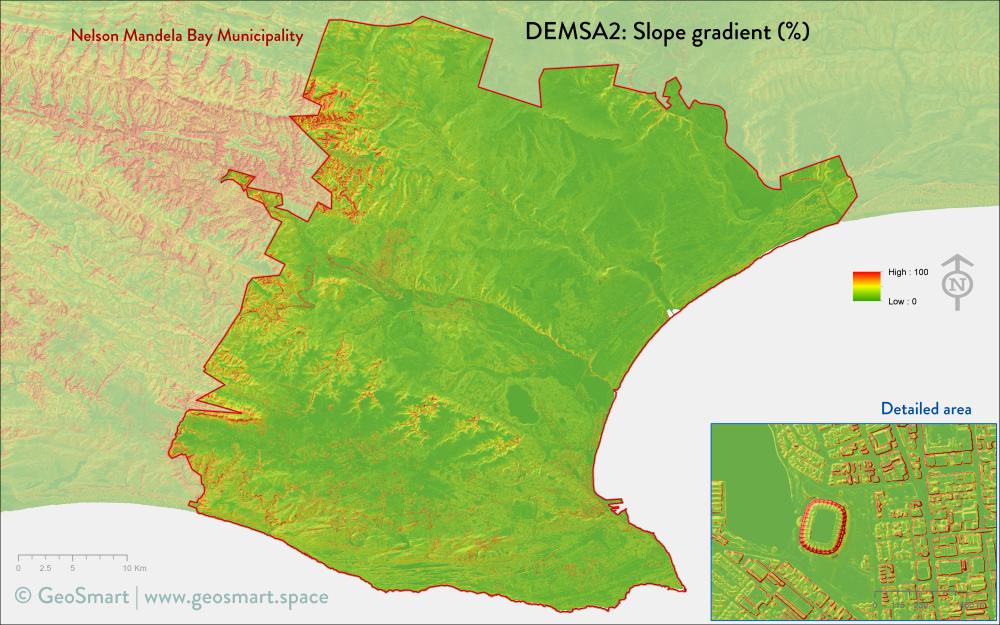Slope gradient of Nelson Mandela Bay and Port Elizabeth